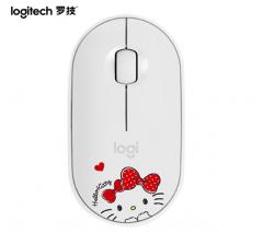 罗技 鹅卵石 【Hello Kitty】白色轻薄型 无线蓝牙静音 便携 时尚鼠标 粉 无线