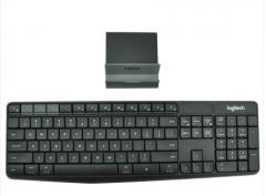 罗技(Logitech)K375s 多设备 安静输入 平板IPAD 手机无线蓝牙键盘 全尺 黑色