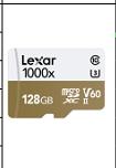 雷克沙(Lexar)128GB 读150MB/s 写90MB/s TF高速存储卡 1000x