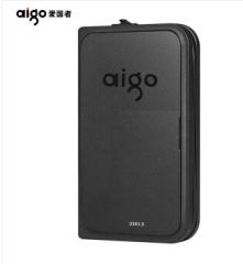爱国者(aigo)USB3.0 2T 移动硬盘 HD816 黑色 多功能无线移动硬盘 机线一体
