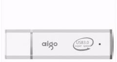 爱国者(aigo) 电脑高速U盘 USB3.0 小巧便携闪充金属亮银优盘U320 银色 64G