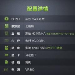商务办公 新品G4900双核  金邦4G  影驰120G固态或WD1T硬盘任选其一 套餐一影驰主板 WD1T硬盘