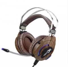极光豹 J1 7.1声道电脑网课降噪耳麦 带振动游戏耳机耳麦【环保袋包装】 原木纹