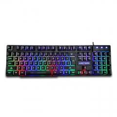 爵蝎 X800 机械战士 彩虹混光背光金属铁底USB有线键盘 黑色 USB