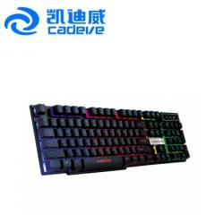 凯迪威 VR6 七彩背光机械手感悬浮 USB有线键盘(104键) 黑色 USB