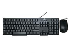 罗技 MK100 二代 经典有线  轻薄款 键鼠套装 P口键盘 U口鼠标 黑色 P+U