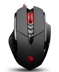 双飞燕血手幽灵V7M有线游戏鼠标 lol cf FPS自定义编程发光鼠标 黑色 USB