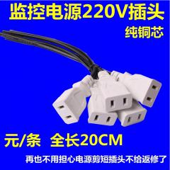 纯铜 带线母插头220v两孔插座电源母头 监控用防水插头