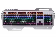 剑圣一族 铁骑士 青轴跑马灯机械键盘 黑色 USB