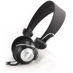 声籁 V80 头戴式电脑耳麦 网吧耐用耳机 双孔带麦电脑耳机 黑色