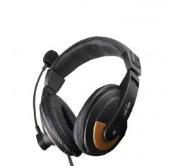Salar/声籁 A17 头戴式立体声大耳机 带麦游戏高音质电脑双头耳麦 黑色