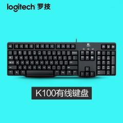 罗技K100 有线键盘 台式电脑办公游戏键盘 PS/2圆孔接口 防水超薄 黑色 PS/2