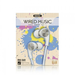 Remax/睿量 569 入耳式舒适睡眠男女通用HIFi线控重低音手机耳塞耳机 颜色随机