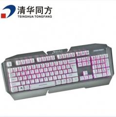 清华同方键鼠  K610金属悬浮机械手感游戏键盘 银色 USB