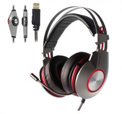 【彩包】西伯利亚 K5 USB7.1发光电竞专业游戏耳机头戴式带线控耳麦 红色