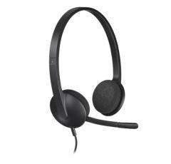 罗技 H340 USB耳麦头戴式话务电脑耳机 黑色