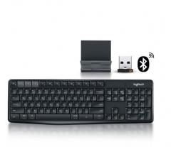 罗技 K375S 蓝牙无线双模键盘 家用办公支架键盘套件 黑色 蓝牙