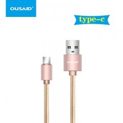 欧赛得 D102 编织线 type-c数据充电线 土豪金 1000mm