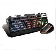 凯迪威 6800 键鼠套装 悬浮式铝合金属面板机械手感游戏发光有线套件 黑色 U+U