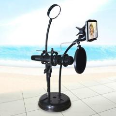 BG-04多功能手机直播支架补光灯麦克风支架白光+暖光可调节