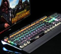 美尚e族 HJK935-6 方型电镀朋克键帽 可拆卸手托跑马灯机械键盘 黑色 USB
