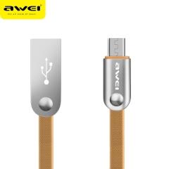 awei/用维 CL18 锌合金插头 2.4A快充 全铜耐拉扯安卓数据线 金色 2000mm
