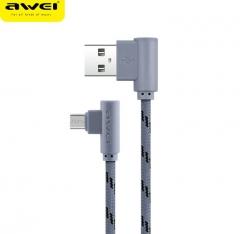 awei/用维 CL90 弯头尼龙编织快速充电线 安卓数据线 灰色 1000mm