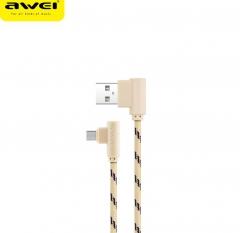 awei/用维 CL90 弯头尼龙编织快速充电线 安卓数据线 金色 1000mm