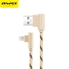 awei/用维 CL91 弯头尼龙编织快速充电线 苹果数据线 金色 1000mm