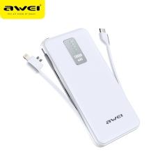 awei/用维 P11K 10000mAh超薄便携自带线移动电源 白色
