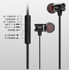 品韵 A500HI 入耳式高音质K歌手机电脑重低音 线控带麦降噪有线耳机 黑色