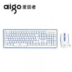 爱国者 WQ7603 时尚办公水晶键鼠无线套件 白蓝色 无线
