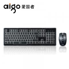 爱国者 WQ7603 时尚办公水晶键鼠无线套件 黑色 无线