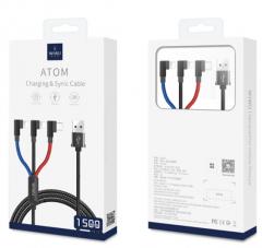 WIWU YZ106 三合一 一拖三 苹果+苹果+type-c 手机充电线 支持同时充电