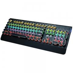 静界 HJK835 蒸汽朋克键帽青轴跑马灯高级竞技机械键盘 黑色 USB
