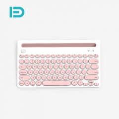 富德 iK3381复古圆形键帽 三设备同连静音蓝牙键盘 白粉色 蓝牙