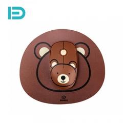 富德 E680 2.4G无线鼠标配鼠标垫套装 创意个性便携鼠标 静音无线鼠标 咖啡熊 无线