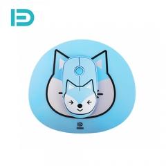富德 E680 2.4G无线鼠标配鼠标垫套装 创意个性便携鼠标 静音无线鼠标 蓝小狸 无线