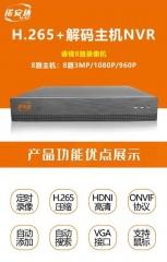 安特 ANT-7608S  睿视8路H.265+网络硬盘录像机单盘位 最大支持500万