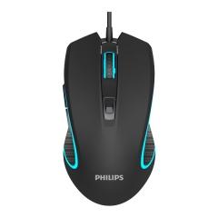 Philips/飞利浦 SPK9413 电竞6D游戏鼠标 发光有线鼠标【60/件】 黑色 USB