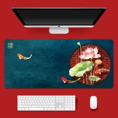 鼠标垫 中国风-锦鲤荷花 300*800*4mm 精密锁边鼠标垫