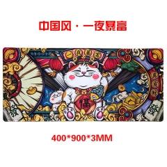 【多金版】中国风-一夜暴富 400*900*3mm 精密锁边鼠标垫
