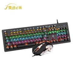 【套件】美尚E族 HJK910-10铠甲勇士 电竞游戏机械键盘 跑马灯游戏套件 黑色 USB