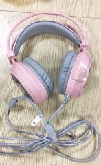 森松尼 V8 USB 7.1电脑耳机 头戴式发光游戏降噪耳麦【裸包】 粉色